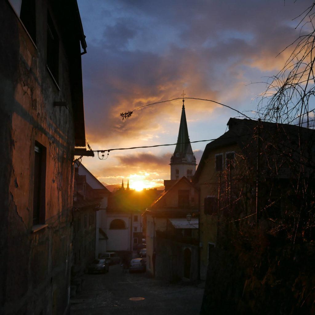 Sonnenuntergang in Ljubljana